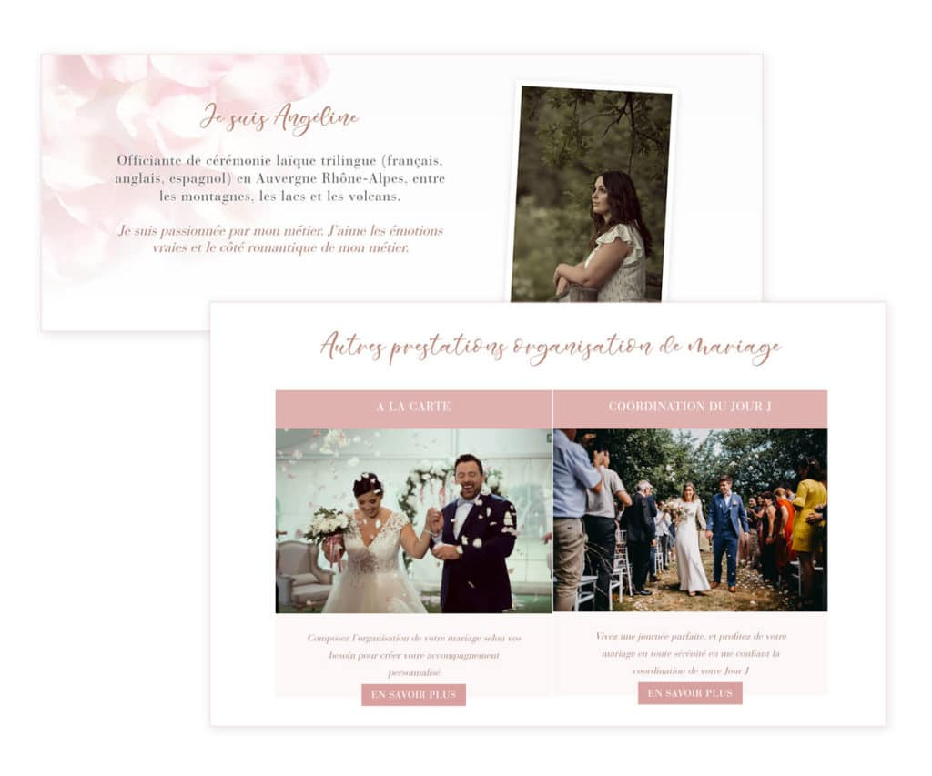 Exemple de site de wedding planner - les planneuses coach wedding planner